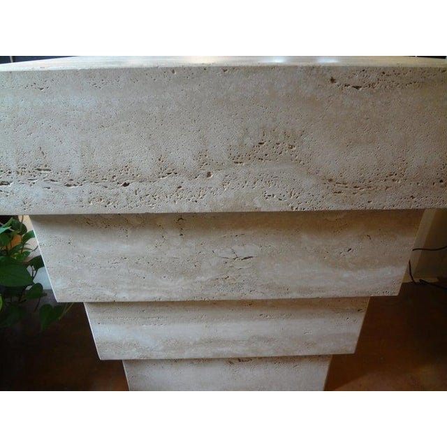 Italian Stepped Travertine Pedestal or Table Base For Sale - Image 4 of 10
