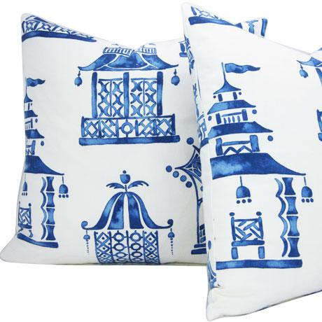 Asian Chinoiserie Ming Pagoda Blue and White Decorative Pillow Cover For Sale - Image 3 of 5