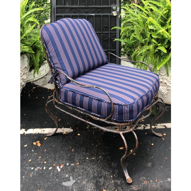 Pair of Rose Tarlow Wrought Iron Outdoor Lounge Chairs. Each has been freshly reupholstered in Perennial indoor / outdoor...