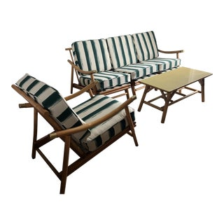 Vintage Mid Century Modern Rattan Bamboo Seating Set For Sale