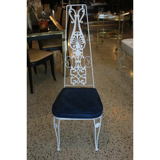 French Art Deco White Lacquered Iron Dining Chairs - Set of 6 - Image 2 of 10