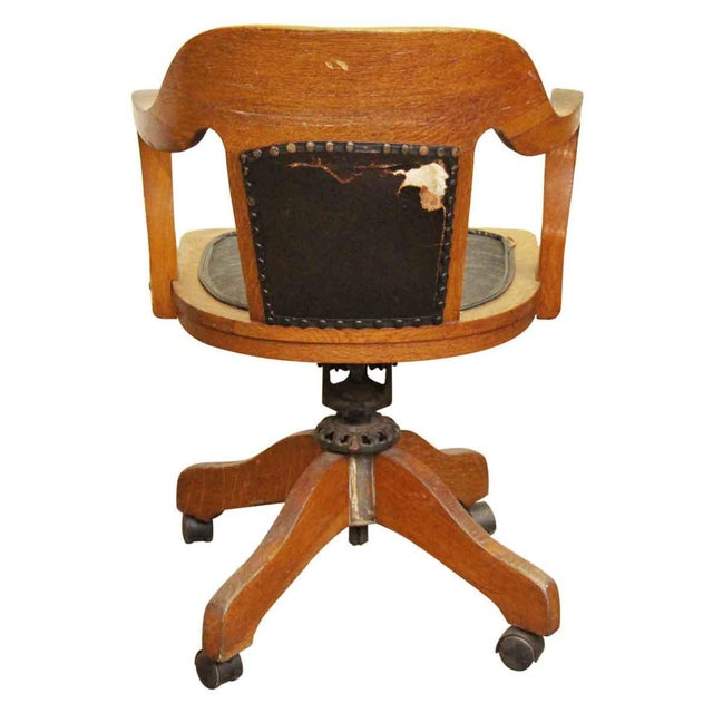 Brown Wooden Rolling Desk Chair With Vinyl For Sale - Image 8 of 9