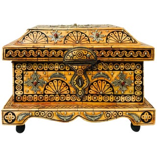 Tribal Orange Jewelry Chest or Box With Brass Inlay For Sale
