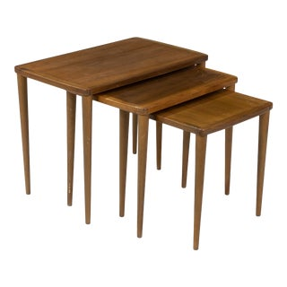 1960s Swedish Teak Mid-Century Nesting Tables-Set of 3 For Sale