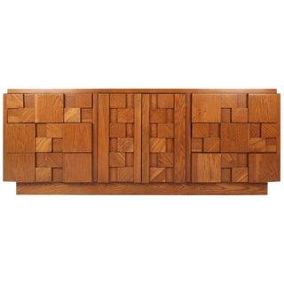 Mid-Century Modern Nine-Drawer Brutalist Dresser
