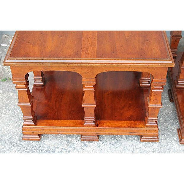 Carved & Detailed Wood End Tables - A Pair For Sale In Miami - Image 6 of 9