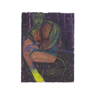 """Friend With Yellow Shoe"" Oil Pastel Figurative Drawing by Aldrin Valdez For Sale"