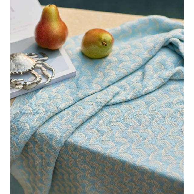 Silent Ripple Handmade Organic Cotton Towel in Powder Blue For Sale - Image 4 of 9