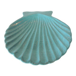 Turquoise Ceramic Clam Shell Dish For Sale