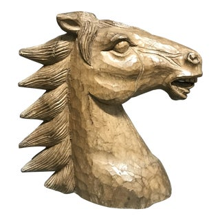 1920s Antiques Paper Mache Mold (Takaan) Horse Head Sculpture For Sale