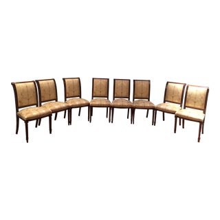 Baker Mahogany Wood Dining Room Chairs With Scalamandre Silk Fabric - Set of 8 For Sale