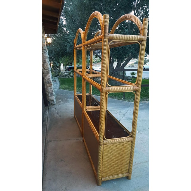 Ficks Reed Chippendale Style Rattan Étagères - a Pair For Sale In Palm Springs - Image 6 of 13