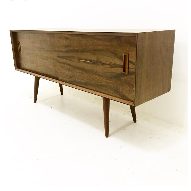 Danish Modern Mid Century Style Walnut Credenza For Sale - Image 3 of 4