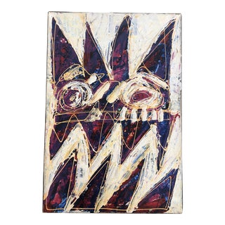 """Original Painting by Outsider Artist Wayne Cunningham """"White Knuckle"""" For Sale"""