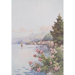 1905 Original Italian Print - Italian Travel Colour Plate - Bellagio From the Villa Melzi, Lago DI Como For Sale