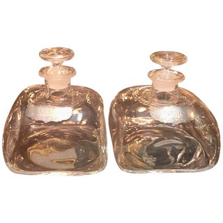 Blown Glass Spirit Decanters With Pewter Labels - a Pair