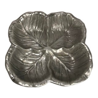 Vintage Pewter Wilton Co Armetale Four Section Cabbage Lettuce Leaf Serving Dish For Sale