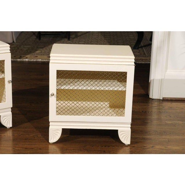Gorgeous Restored Pair of End Tables by Widdicomb in Cream Lacquer, Circa 1938 For Sale - Image 10 of 11