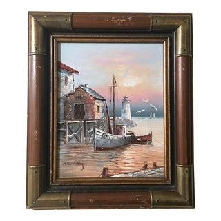 Max Savy Nautical Oil on Canvas Painting For Sale