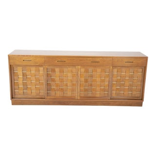 Mahogany, Cane & Brass Credenza by Edward Wormley for Dunbar For Sale