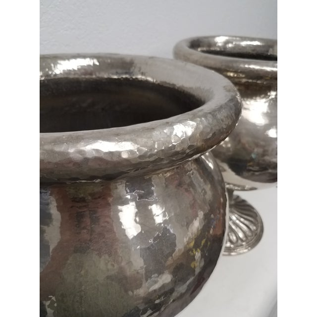 1960s Vintage Matching Vintage Metal Planters - a Pair For Sale - Image 5 of 13