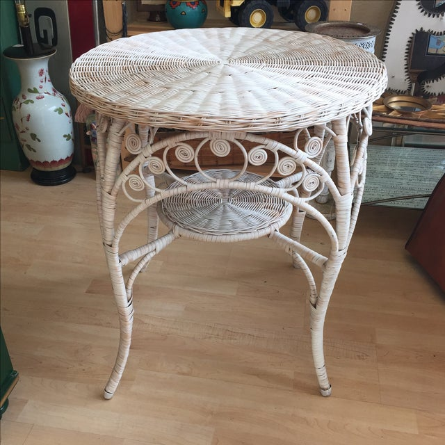 Vintage White Wicker Side Table - Image 5 of 6