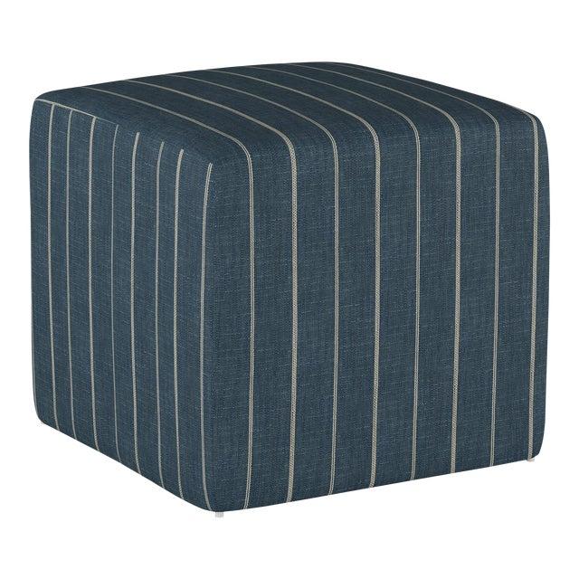 Fritz Indigo Cube Ottoman For Sale
