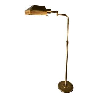 Mid Century Brass Floor Lamp | Adjustable Height For Sale