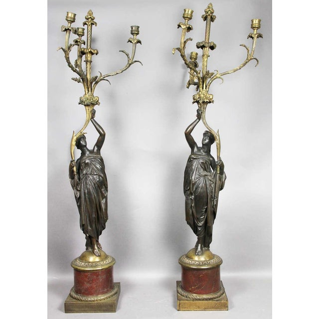 Pair of Louis XVI Bronze and Ormolu Candelabra For Sale - Image 10 of 10