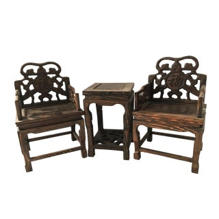 Chicken Wood Miniatures Chairs & Table - Set of 3