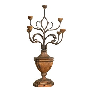 Boho Chic Wooden Candelabra For Sale