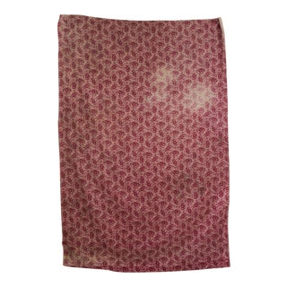 French Antique Fabric Purple Floral Cotton Material Timeworn Rare Circa 1840 For Sale
