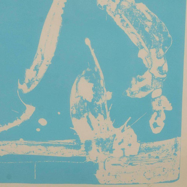 Signed Lithograph by Robert Motherwell Untitled Abstract Pale Blue on White - Image 9 of 10