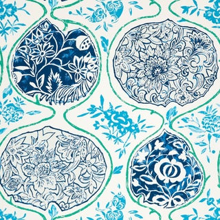Schumacher Katsugi Wallpaper in Cobalt & Turquoise For Sale