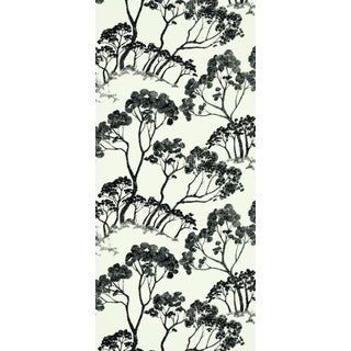 Schumacher Timber ! Wallpaper in Black & White For Sale