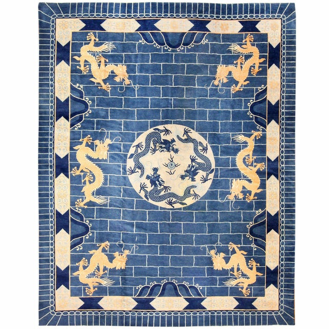 Chinese Art Deco Blue Rug - 12′ × 15′4″ For Sale - Image 10 of 10