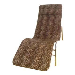 1980s Vintage Leopard Chrome Wave Chaise Lounge For Sale