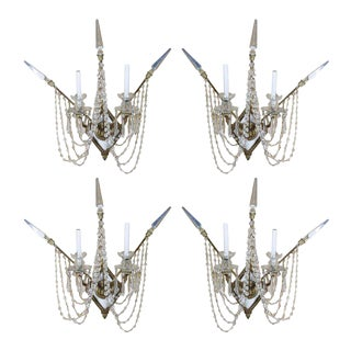 Set of Four Bronze and Bead Crystal Presidential Wall Sconce For Sale