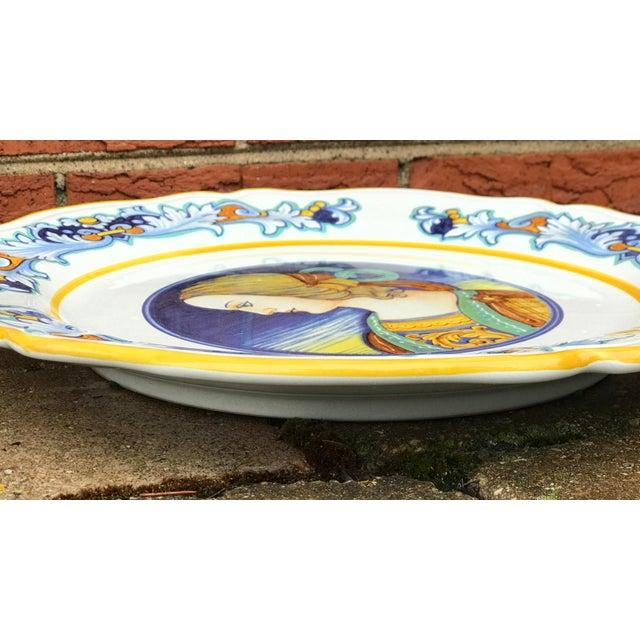 Deruta Deruta Italian Renaissance Woman Ceramic Serving Plate For Sale - Image 4 of 8