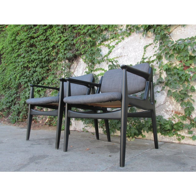 Mid-Century Black Lacquered Arm Chairs - A Pair - Image 3 of 4