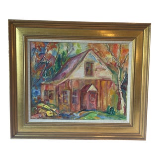 Contemporary House in Autumn Oil Painting For Sale