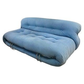 Afra & Tobia Scarpa 'Soriana' Sofa in Original Light Blue Suede, Italy 1970 For Sale