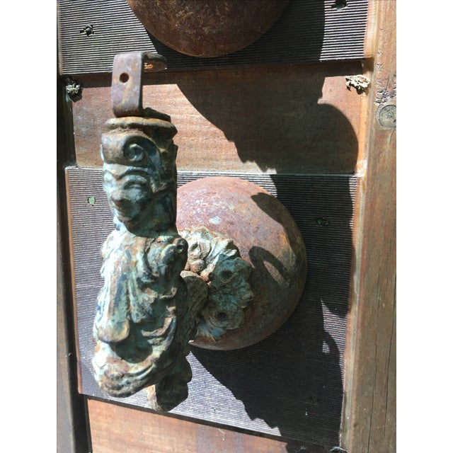 Antique Architectural Salvage Iron Figural Sconces - Pair - Image 3 of 9