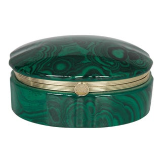 Vintage Ceramic Malachite Trinket Box For Sale
