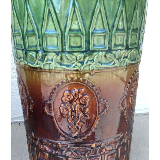 Green Antique Majolica Art Pottery Umbrella Stand For Sale - Image 8 of 9