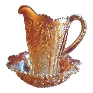 Circa 1913 Imperial Bellaire Marigold Carnival Glass Pitcher & Basin Bowl Set- 2 Pieces For Sale