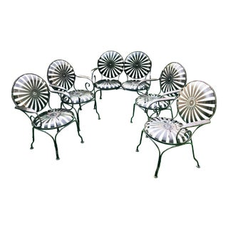 1940's Vintage French Sunburst Francois Carre Garden Furniture-Set of 5 For Sale