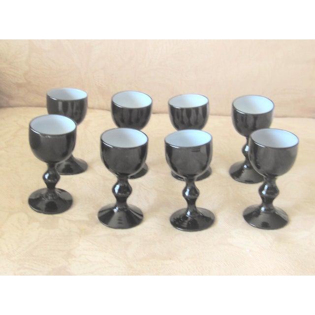 Carlo Moretti Carlo Moretti Mid Century Black Murano Opaline Milk Glass Cordials - Set of 7 For Sale - Image 4 of 4