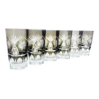 Vintage Bohemian Cut Glass Tumblers - Set of 6