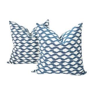 Dotted Indigo Ikat Guatemalan Pillows - Set of 2